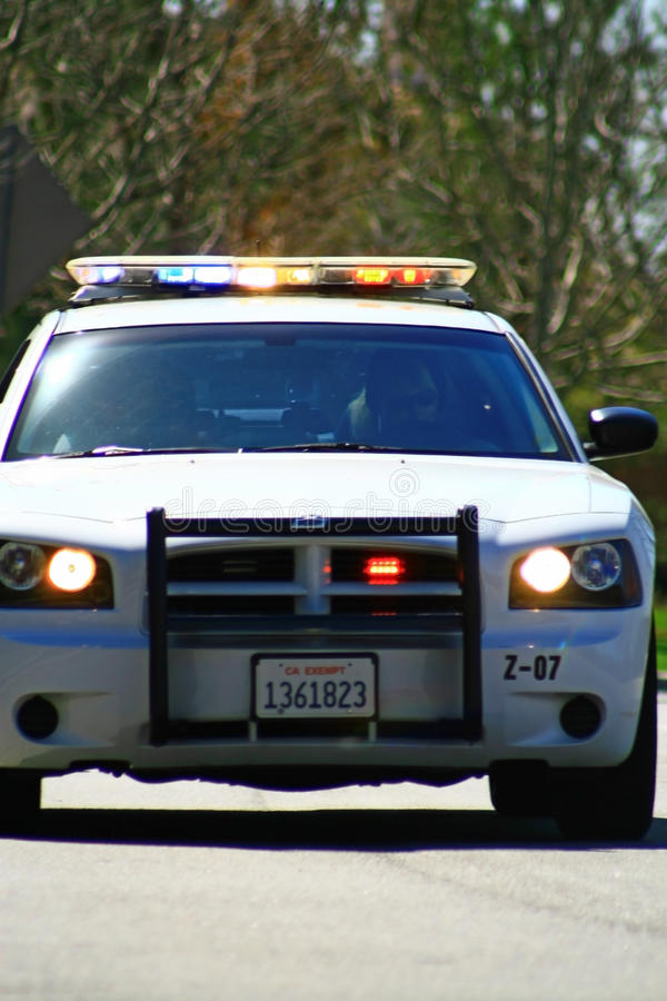 Pull Over. Police trained in roving traffic stops for the Trial Run of the 2011 Redlands Classic stock images