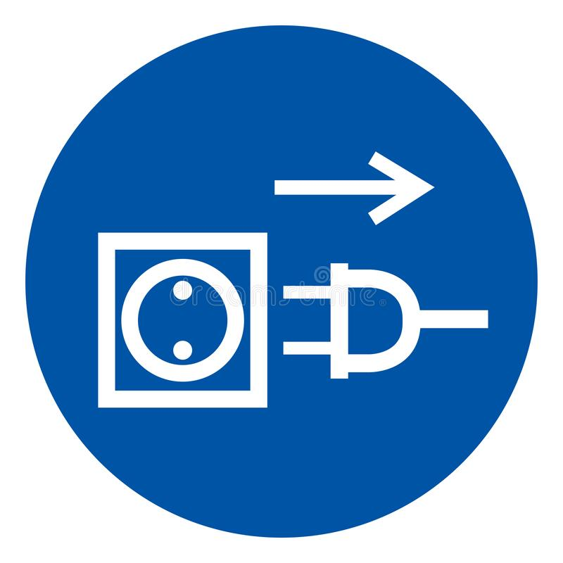 Pull Plug Symbol Sign,Vector Illustration, Isolated On White Background Label. EPS10 royalty free illustration