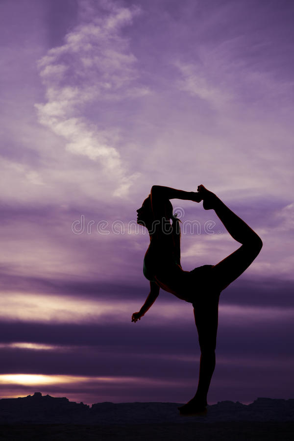 Pull up foot woman silhouette stock images