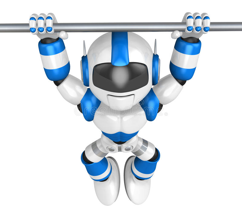 The pull up to blue robot, A chin up