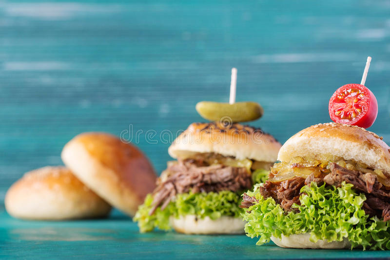 Pulled pork burger royalty free stock photos