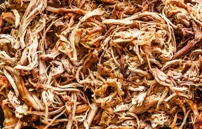 Pulled pork from oven in glass bowl ready for serving. royalty free stock photos
