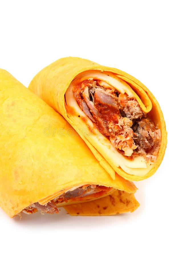 Pulled Pork and Provolone Wrap stock images