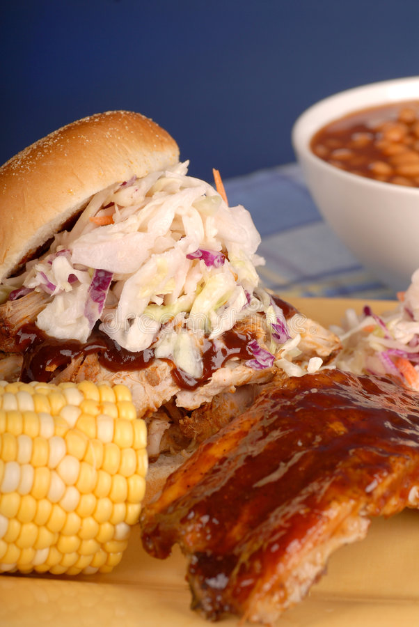 Pulled pork sandwich and ribs royalty free stock photo