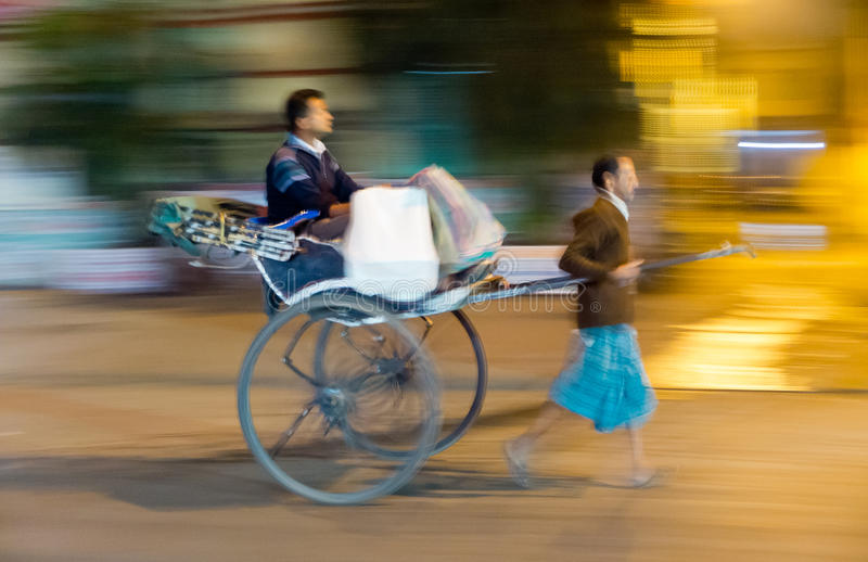 Pulled rickshaw stock images
