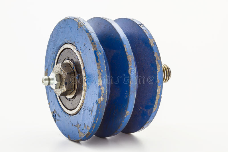 Pulley. The belt type pulley bearings. On a white background royalty free stock image