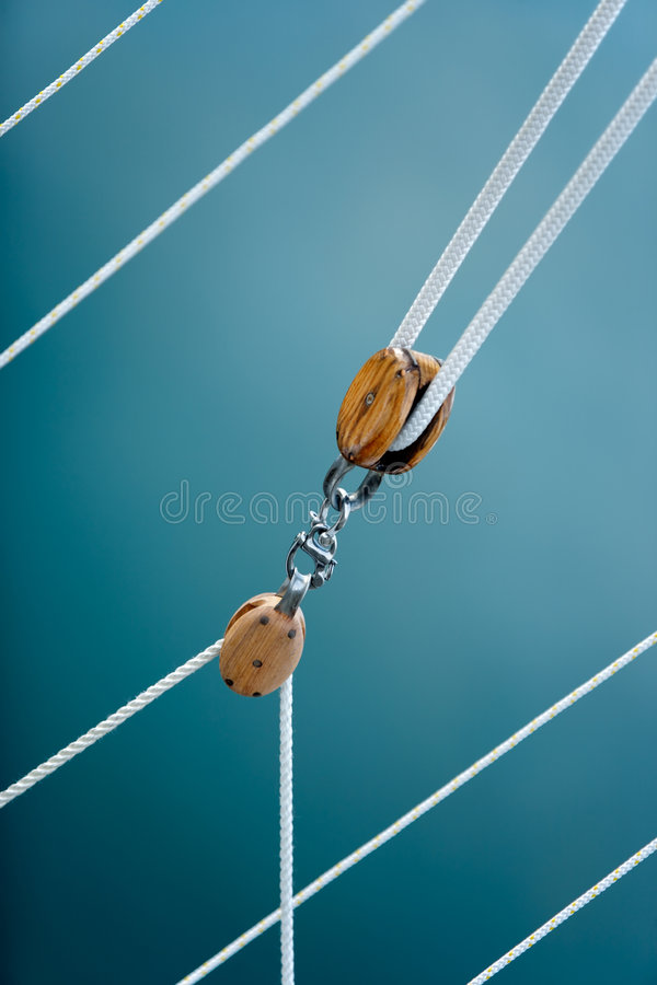 Pulley blocks and ropes stock photo