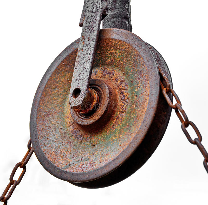 Pulley with chain stock photography