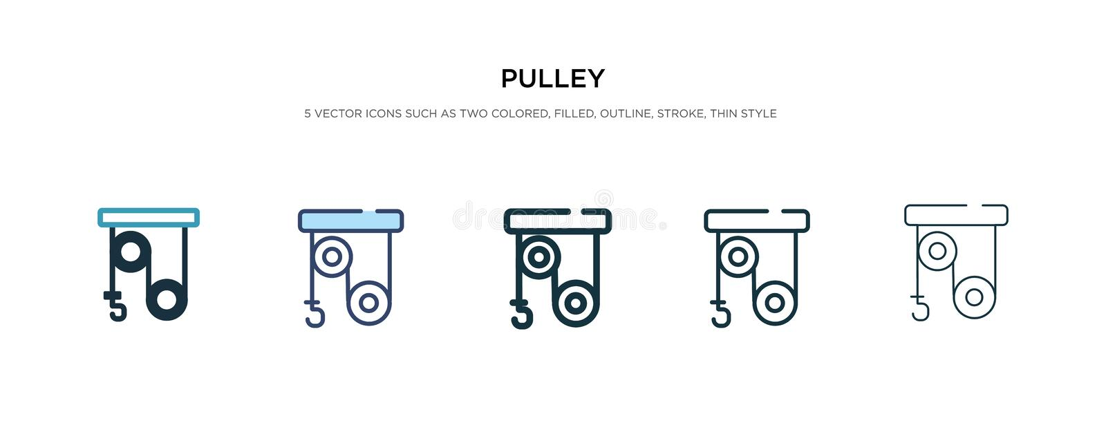 Pulley icon in different style vector illustration. two colored and black pulley vector icons designed in filled, outline, line royalty free illustration