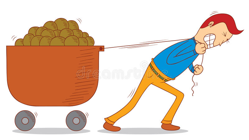 Pulling a cart vector illustration