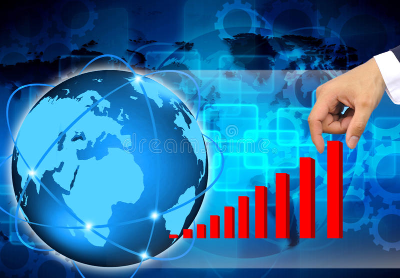 Pulling up a bar from a graph on abstract the world busine. Hand pulling up a bar from a graph on abstract the world business stock photo