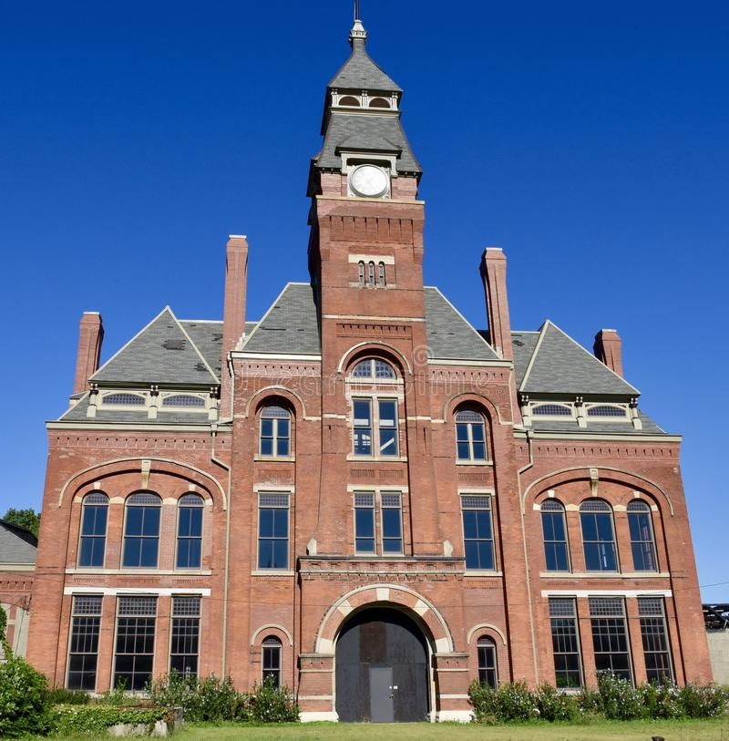 Pullman Clock Tower and Administration Building. This is a Summer picture of the iconic Pullman Clock Tower and Administration Building located in Chicago stock photography