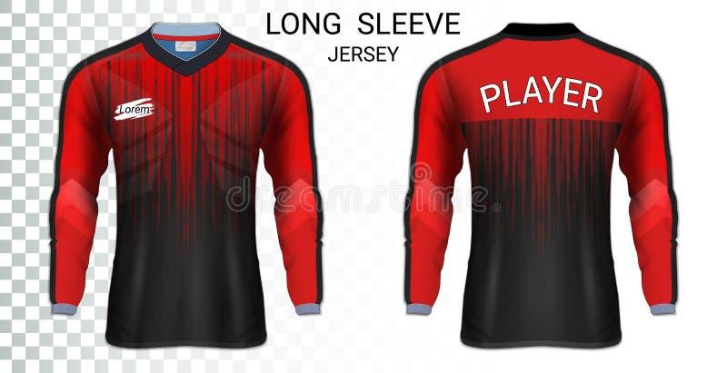 Pullover di calcio lungo della manica, modello del modello di sport della maglietta illustrazione di stock