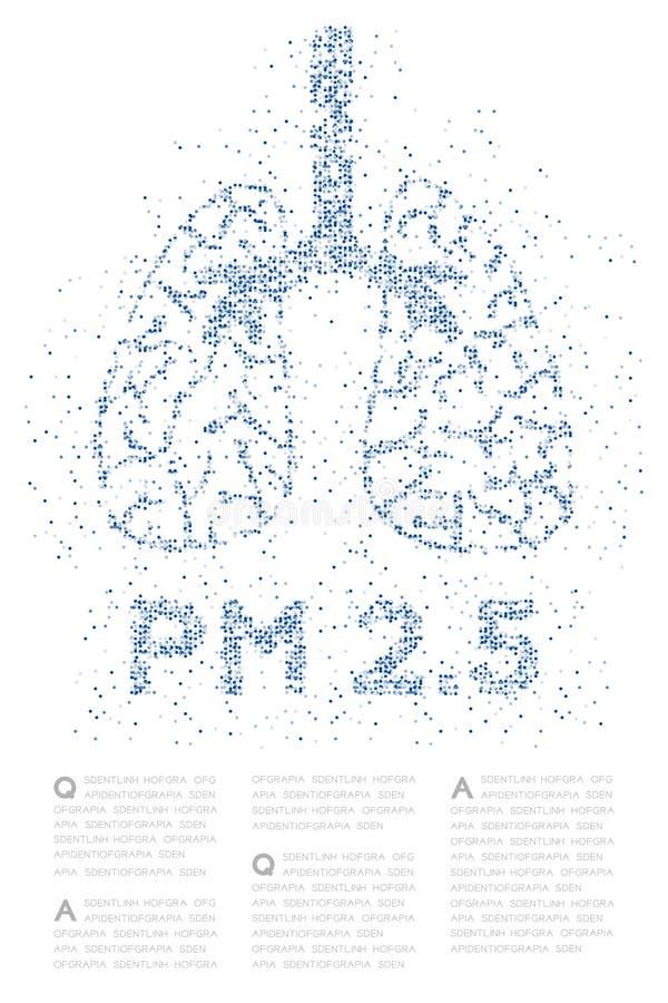 Pulmón con P.M. 2 modelo cruzado abstracto de 5 textos, ejemplo de color azul del diseño de concepto del órgano de la ciencia méd stock de ilustración