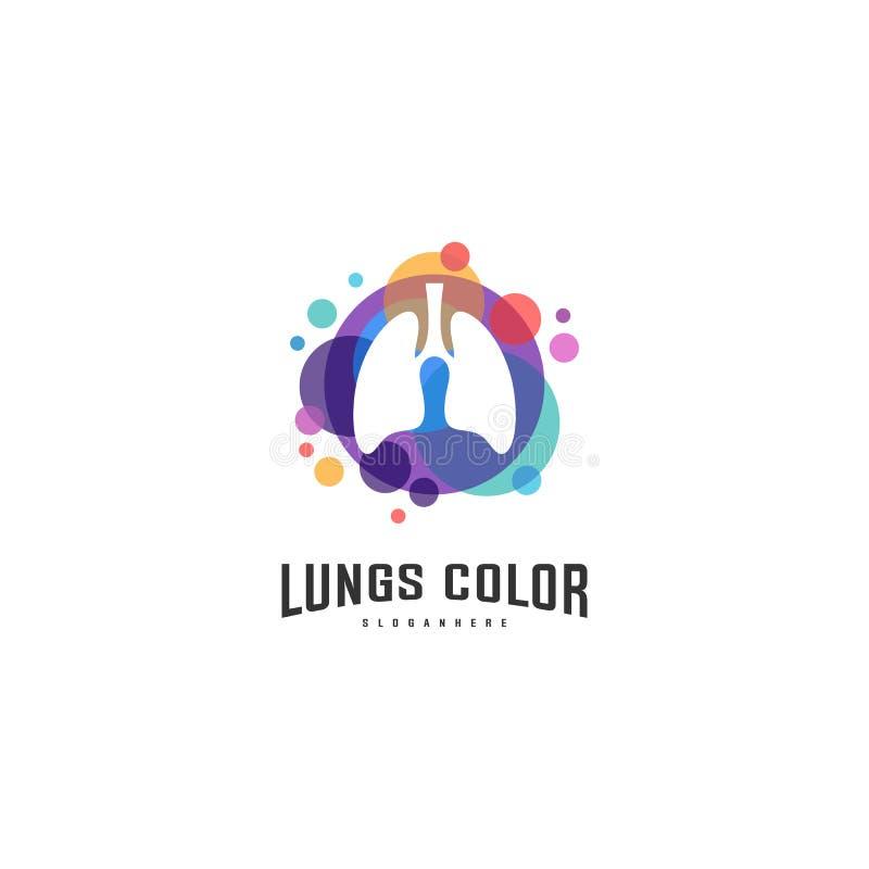 Pulmões com vetor colorido do logotipo, projetos molde do logotipo dos pulmões da saúde, elemento do logotype para o molde ilustração royalty free