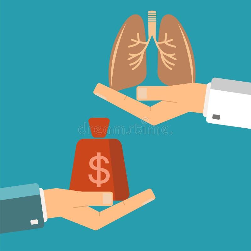 Pulmões da transplantação Dinheiro paciente da posse da mão, lun do ser humano da posse do doutor ilustração royalty free
