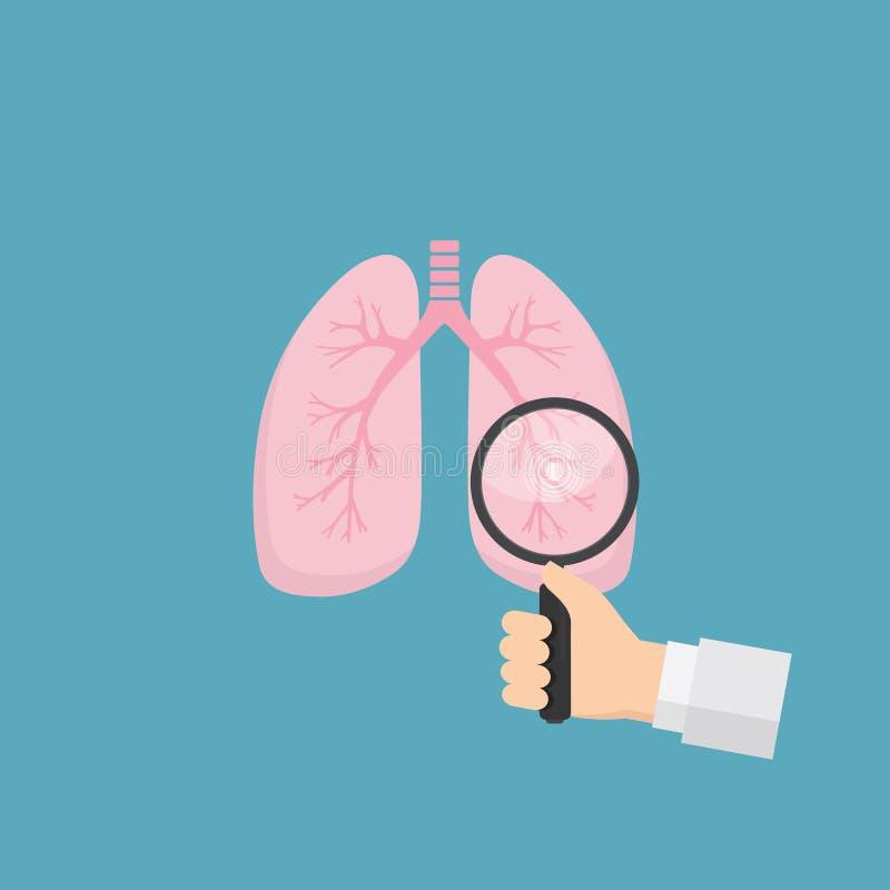 Pulmões humanos com a mão que guarda a lupa ferramenta médica para diagnosticar das doenças dos pulmões Conceito dos cuidados méd ilustração stock
