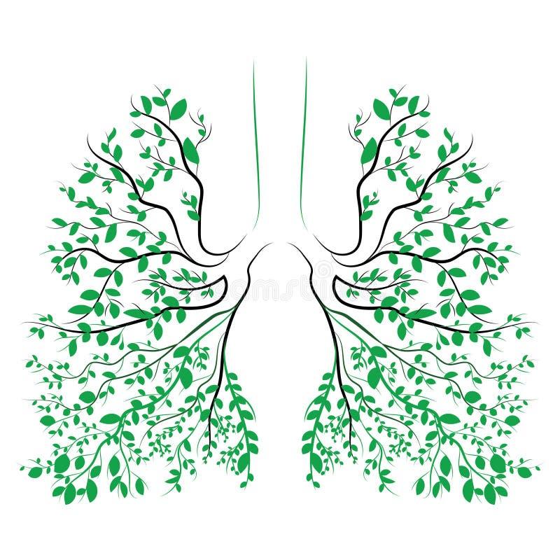 Pulmões humanos Sistema respiratório Pulmões saudáveis Luz sob a forma de uma árvore Linha arte Desenhar à mão medicina ilustração royalty free