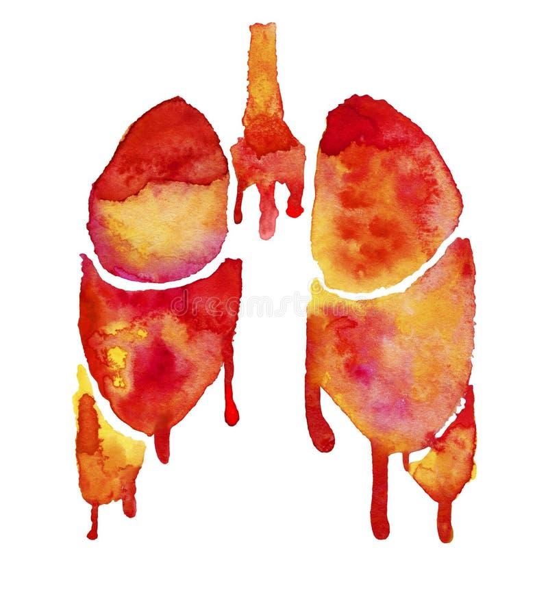 Pulmões Vermelhos E Alaranjados Com Borrões Brilhantes Da Pintura  Ilustração Stock - Ilustração de sumário, medicina: 138113631