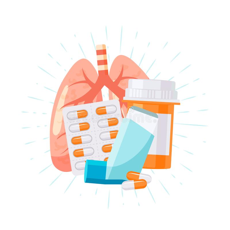 Pulmonary medication concept in flat style, vector royalty free illustration