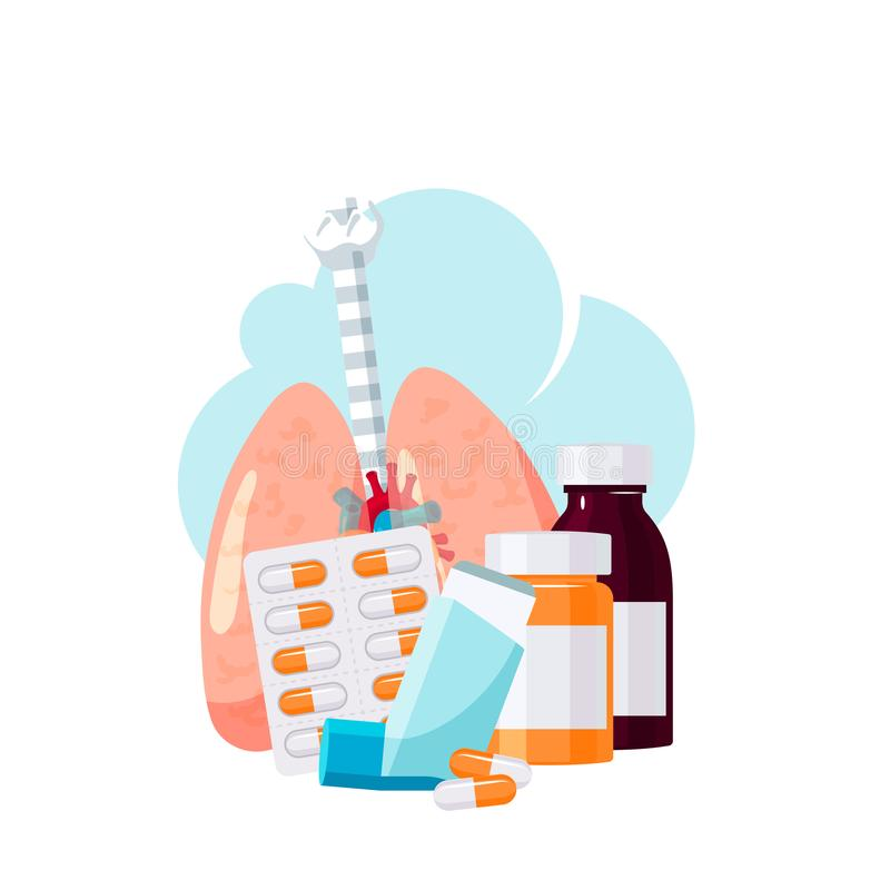 Pulmonary medication concept in flat style, vector stock illustration