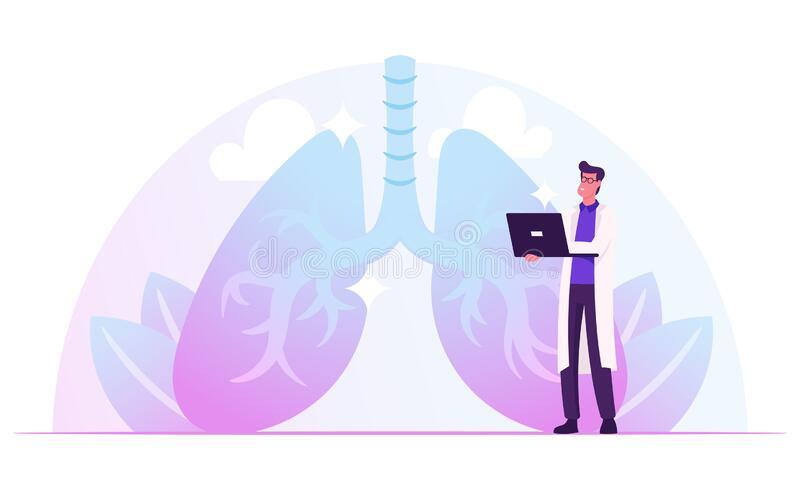 Pulmonology Doctor Working on Laptop Watching Lungs X-rays Image on Computer Screen Checking Analysis Results. Fibrosis Tuberculosis Pneumonia Cancer, Lung stock illustration