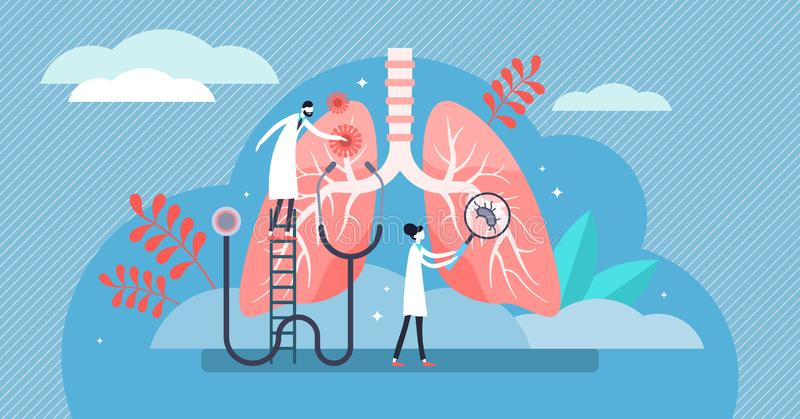 Pulmonology vector illustration. Flat tiny lungs healthcare persons concept stock illustration