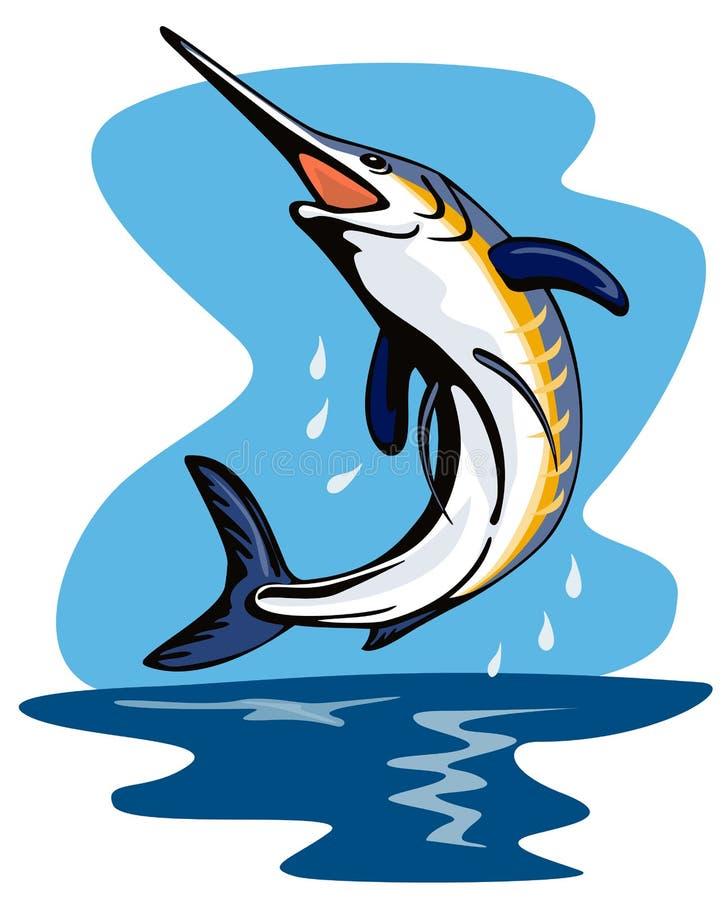 Pulo do espadim azul ilustração stock