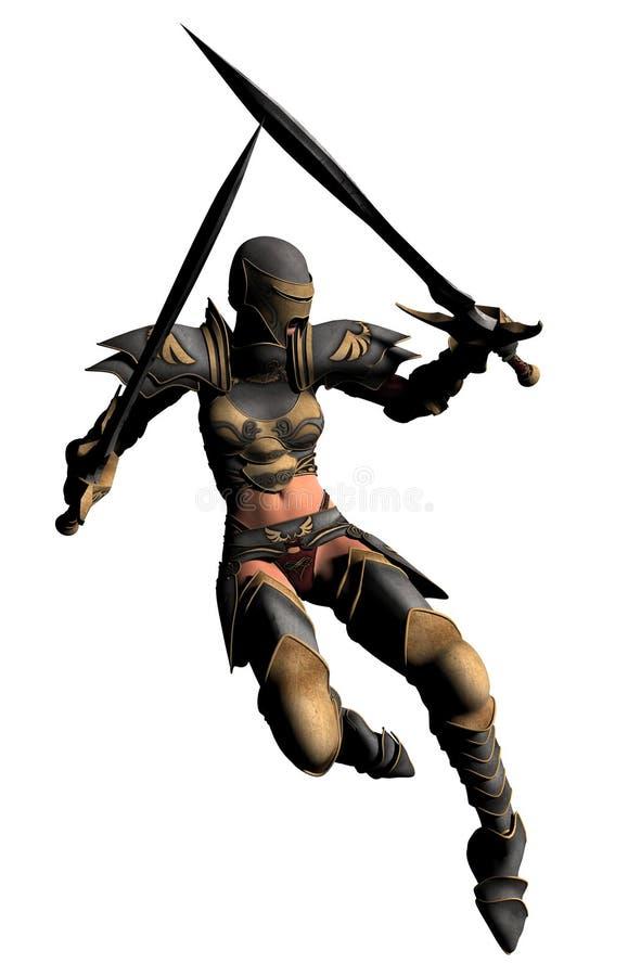 Pulos de Swordswoman ilustração do vetor