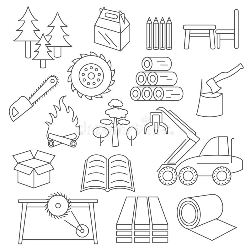 Pulp, paper and wood products icon set. Thin line design isolate royalty free illustration