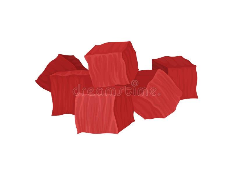 Pulpa de la carne fresca, cortada en cuadritos Ilustraci?n del vector en el fondo blanco stock de ilustración