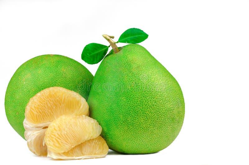 Pulpa del pomelo sin las semillas aisladas en el fondo blanco Fruta del pomelo de Tailandia Fuente natural de vitamina C y de pot foto de archivo libre de regalías