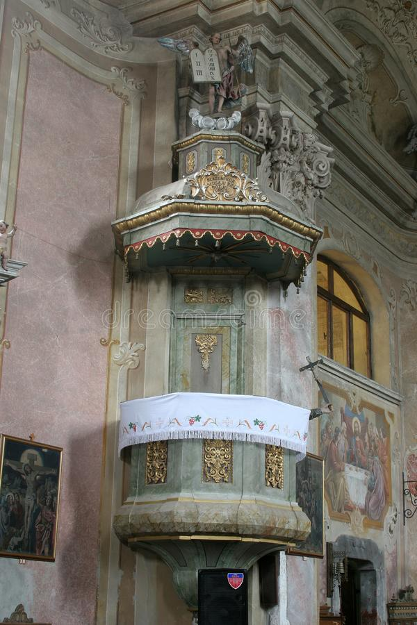 Pulpit in the Church of Assumption in Sveta Marija na Muri, Croatia.  stock image