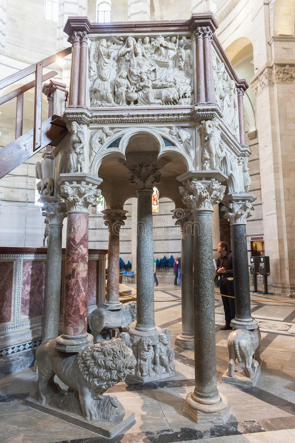 The pulpit of Nicola Pisano in the Pisa Baptistery of St. John i stock images