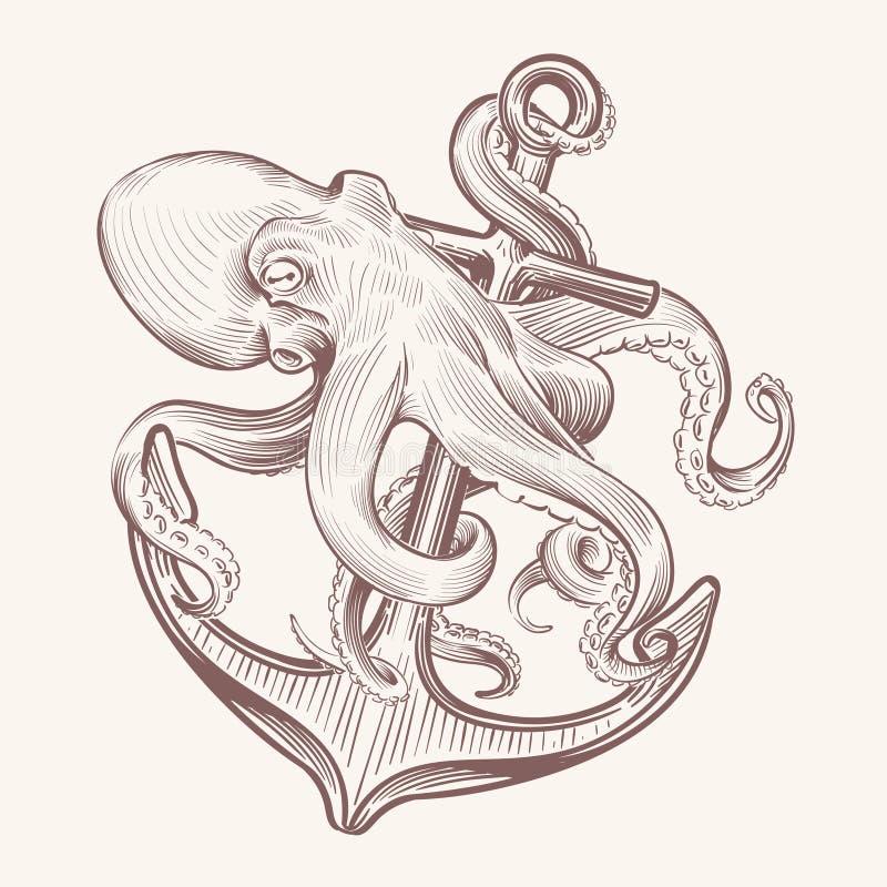 Pulpo con el ancla Bosqueje el mar kraken el ancla de la nave de la tenencia del calamar Diseño del vintage del vector del tatuaj stock de ilustración