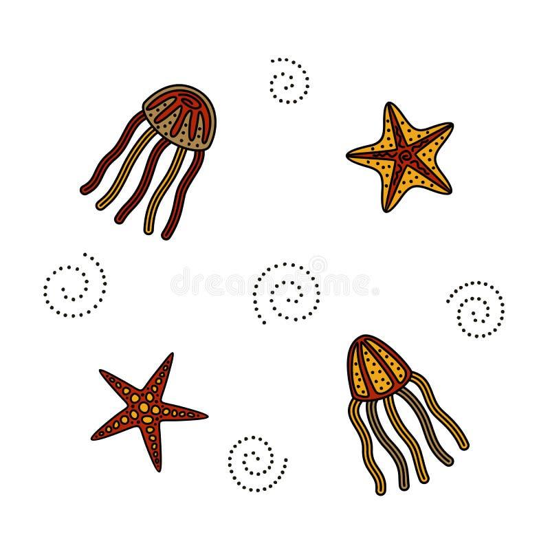 Pulpo, estrella de mar stock de ilustración