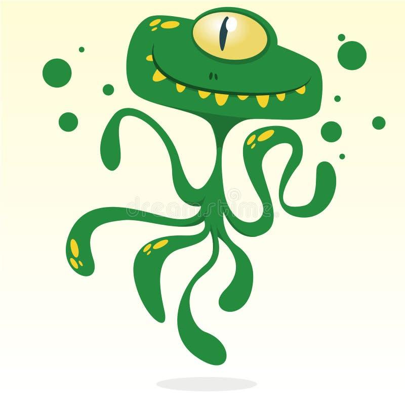Pulpo feliz de la historieta Vector al monstruo verde de Halloween con un ojo y tentáculos ilustración del vector