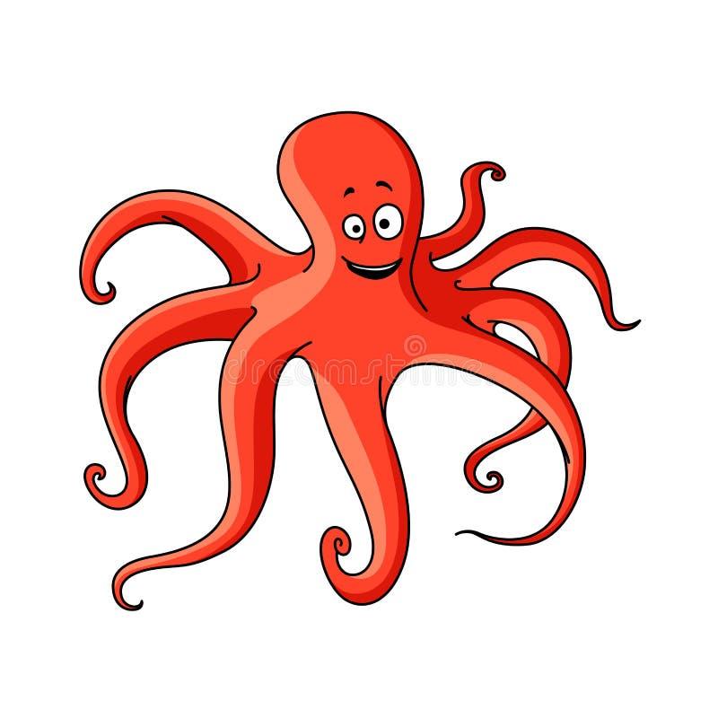 Pulpo rojo de la historieta con tentáculos largos stock de ilustración