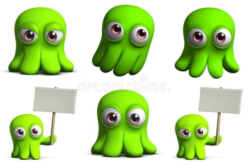 Pulpo verde del juguete stock de ilustración