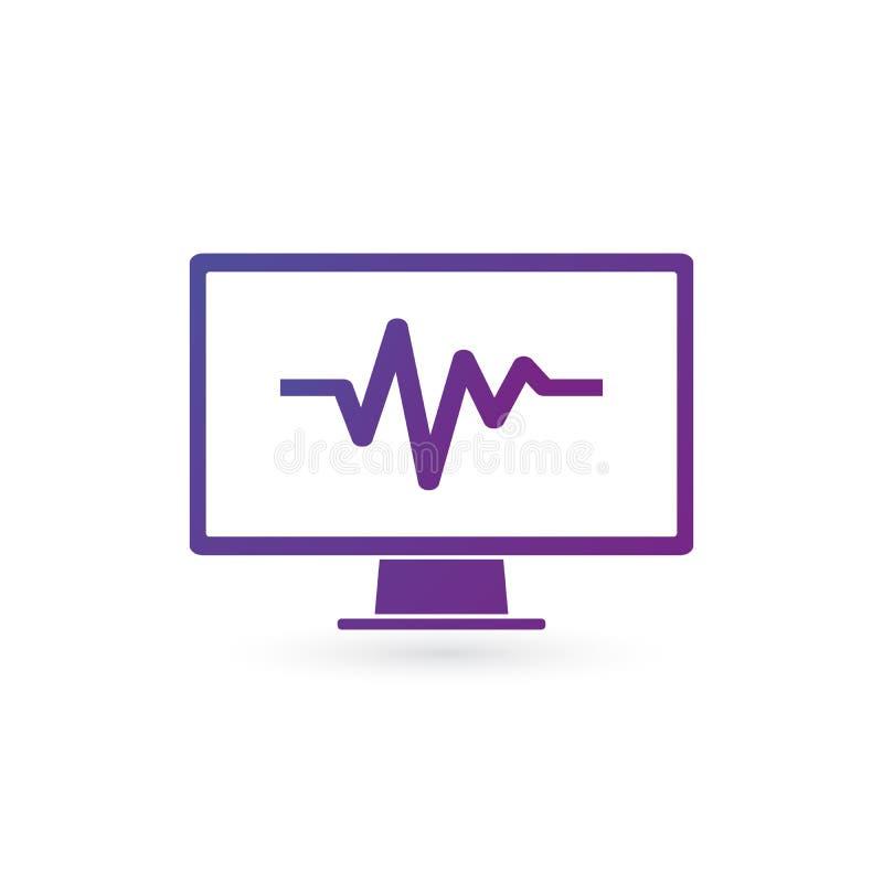 Pulsövervakningsymbol på vit bakgrund Analizing dator, meintance som kontrollerar hälsa Vektorillustration som isoleras på vit stock illustrationer