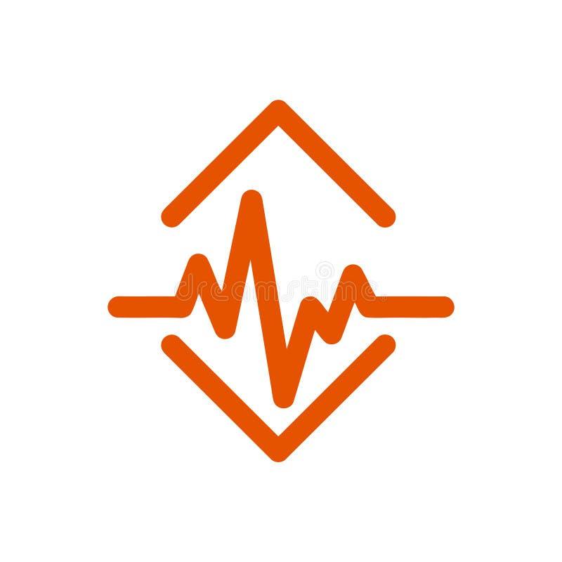 Puls, bicie serca, tempo, serce, miłość, Medyczna pomarańczowa ikona royalty ilustracja
