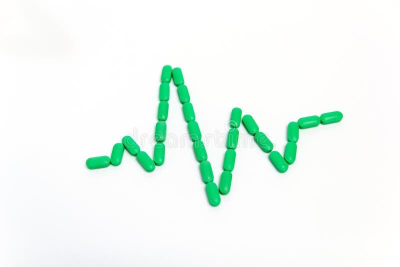 Puls jest zielonymi pigułkami Odizolowywać na białym tle poj?cie k?ama medycyny pieni?dze ustalonego stetoskop fotografia royalty free