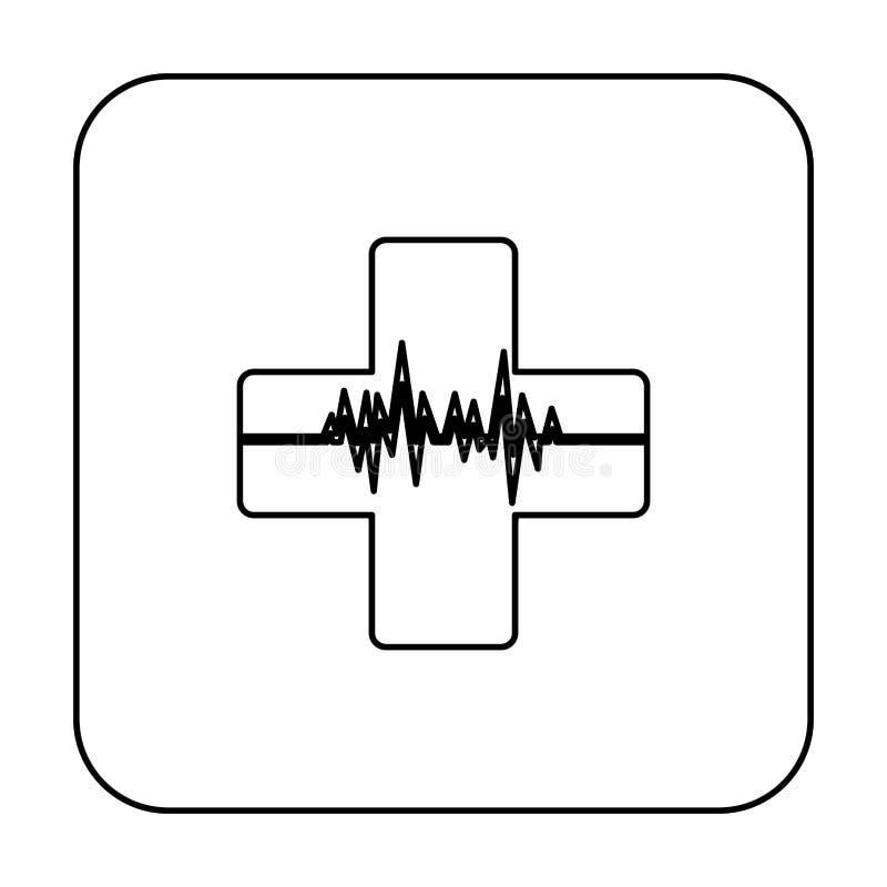 pulsação do coração dentro do ícone transversal ilustração do vetor