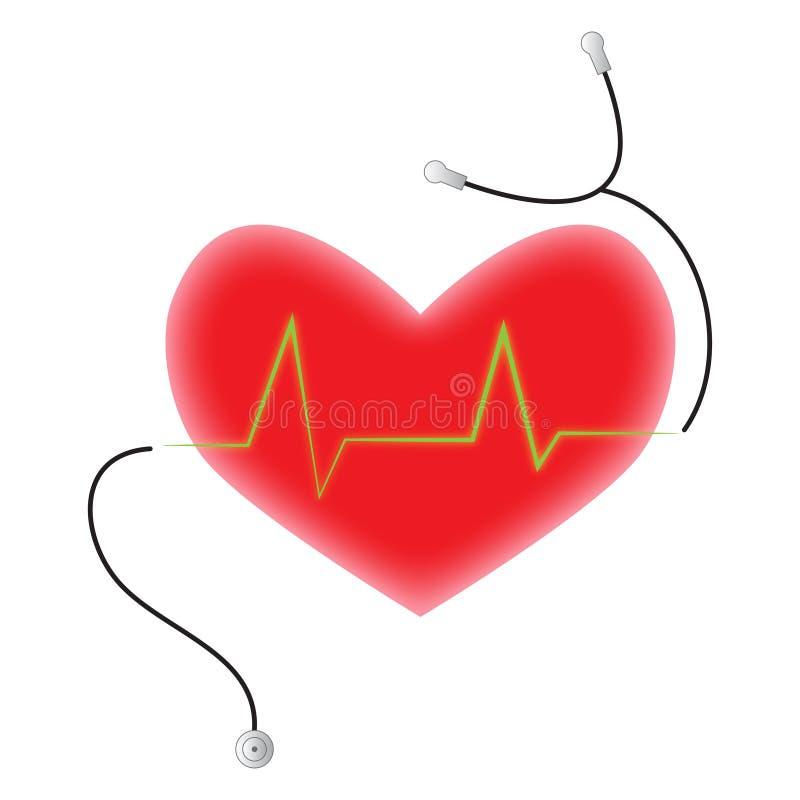 Pulsação do coração do estetoscópio do doutor do controle de saúde do coração ilustração stock