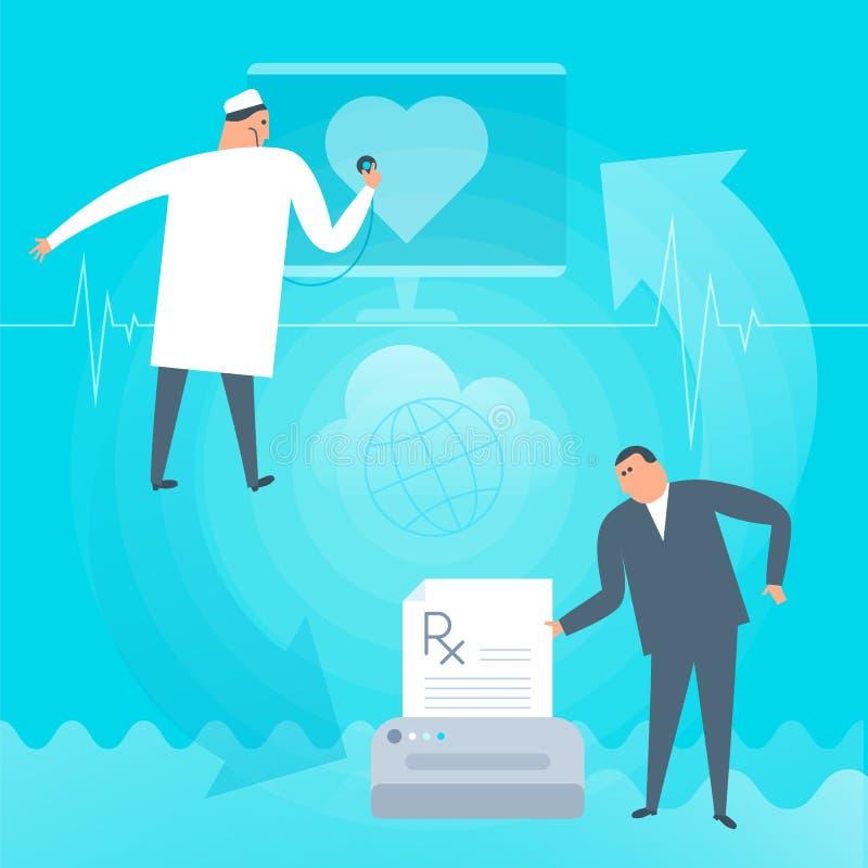 Pulsação do coração dos exames do doutor em linha O paciente imprime a prescrição Tele ilustração do vetor