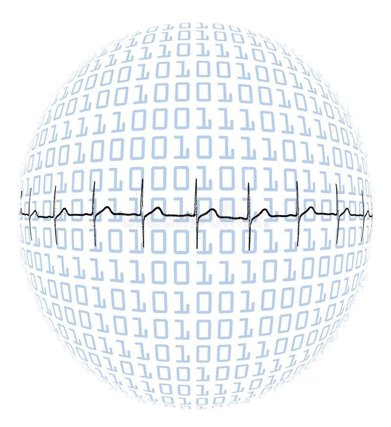 Pulsação do coração no globo binário ilustração do vetor