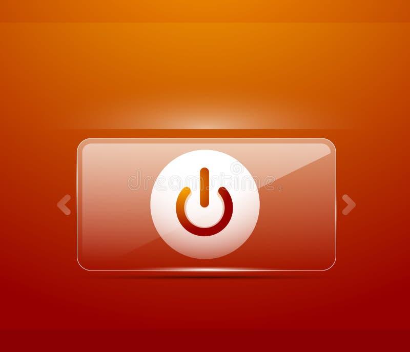Pulsante di avvio trasparente di vetro di potere di effetto, fuori dall'icona, sul vettore UI o sulla progettazione di simbolo di illustrazione di stock