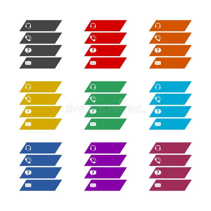 Pulsanti di colore del sito Web di contatto isolati in background bianco immagini stock libere da diritti