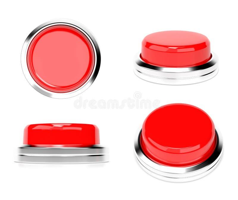 Pulsanti rossi Insieme delle icone di Web illustrazione della rappresentazione 3d isolata illustrazione di stock