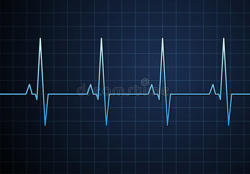 Pulse blue. Lifeline in an electrocardiogram. Vector